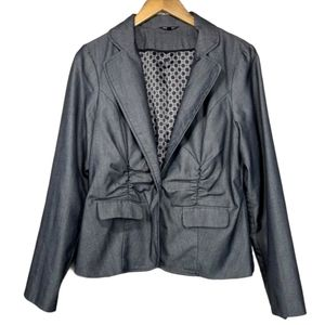 Maurices Gray Pin Striped Button Up Blazer Jacket